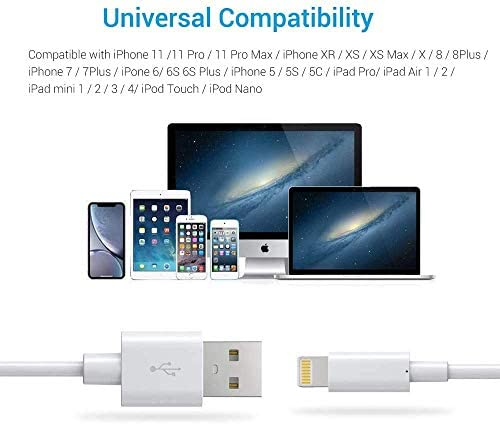 Lightning Cable MFi Certified - iPhone Charger Cable 3Pack 6ft Novtech Durable USB Charging Cable Cord for iPhone 12 11 Pro XR Xs Max X SE 8 8Plus 7 7Plus 6S Plus 6 5S 5C 5 iPad iPod AirPods and More