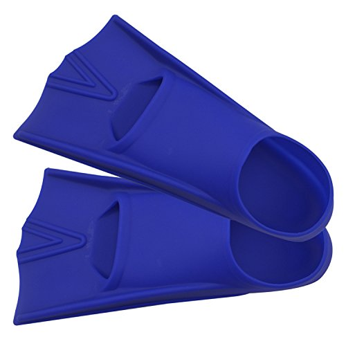 TOPCHAMCES(TM) Rubber Swim Training Fins Flippers for Men, Women and Kids, Short Training Fins for Swimming (Blue, F800(S) 33-35)