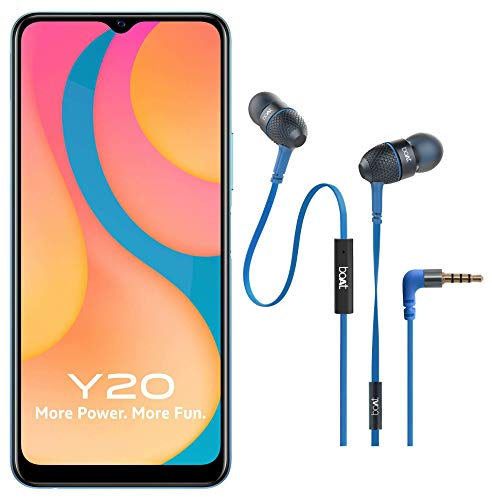 Vivo Y20 (Purist Blue, 6GB RAM, 64GB Storage) with Boat Wired Earphones