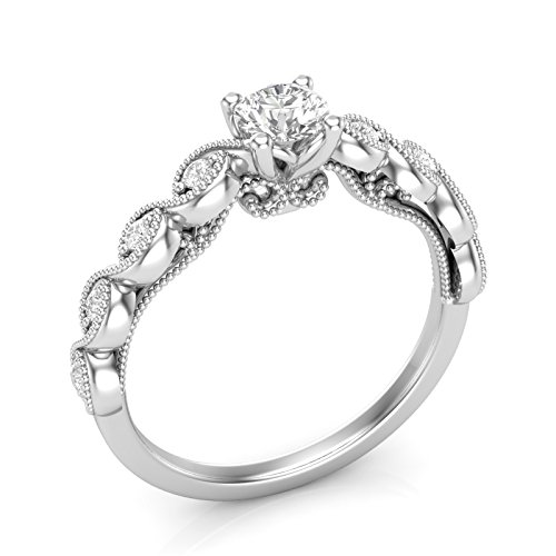 Amazon 14k White Gold Floral Engagement Ring Twist Infinity