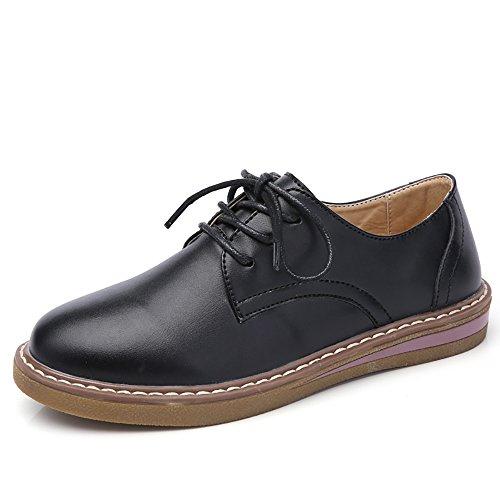 negro con Oxford Suede Primavera de Flats Redonda Puntera de Casuales 2018 Mujer Black Genuine Boat Zapatos Piel Leather Zapatos q7wFxX1nSZ