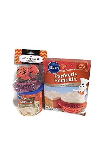 Pillsbury Halloween Pumpkin Cupcake Bundle: 1 Box of Perfectly Pumpkin Cake Mix, 1 can of Creamy Supreme Cream Cheese Icing and 1 Set of 24 Pumpkin Cupcake Liners and 24 (Halloween Cupcakes Cream Cheese Frosting)
