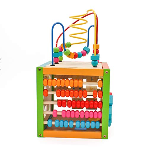 Tenozek Wooden Learning Bead Maze Cube 5 in 1 Activity Center Educational Toy Multicolor