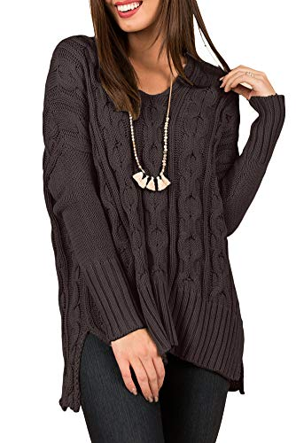 9db4b2bae60 Spadehill Womens Casual Loose Fit Winter Side Slit Cable Knit Long Sleeve V  Neck Sweaters Brown M
