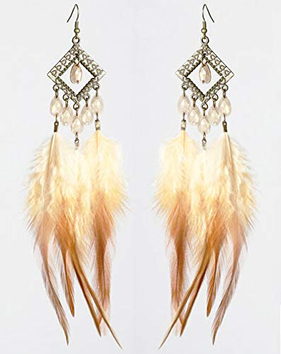 1 pair downy Feather earrings bead bronze rhombus cute dangle ornament hot