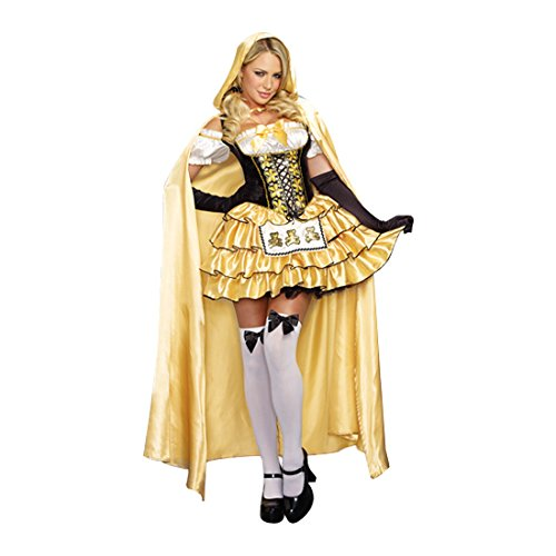[Dreamgirl Women's Goldilocks Fairytale Costume, Gold/Black, Small] (Sexy Fairy Halloween Costumes)