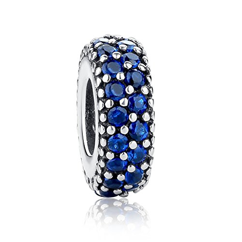 - Everbling Inspiration Within Fancy CZ Spacer 925 Sterling Silver Bead Fits European Charm Bracelet (Blue)