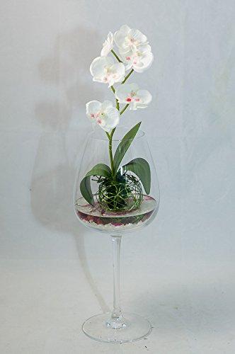 Pieza Central Con Una Orquídea Blanca En Un Jarrón Arreglo
