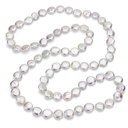 10-10.5mm White Coin Shape Freshwater Cultured Pearl Endless Necklace, 36