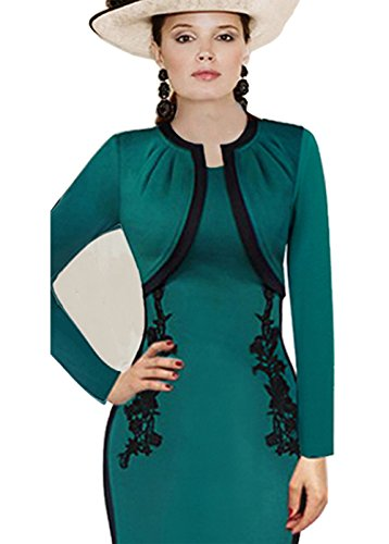 Merope J Womens Vintage Lace Long Sleeves Midi Cocktail Party Dress(M,Green) (Punch Out Halloween Costumes)