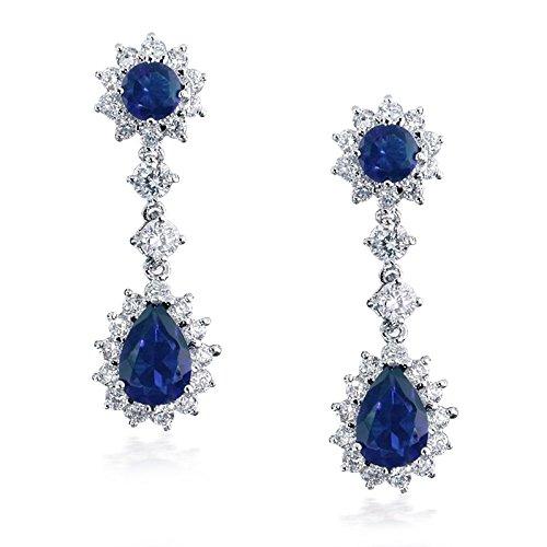 Bling Jewelry Saphir simulé CZ Wedding Necklace Earring plaqué rhodium Set