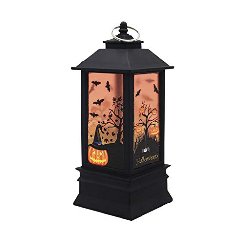 HOLD HIGH Halloween Lights Retro Lantern Lamp Color LED Night Lights with Pumpkin Bat Ghost Witch Haunted House Castle for Indoor Outdoor Home Door Garden Party Decorations, 5.1inch x 2.3inch
