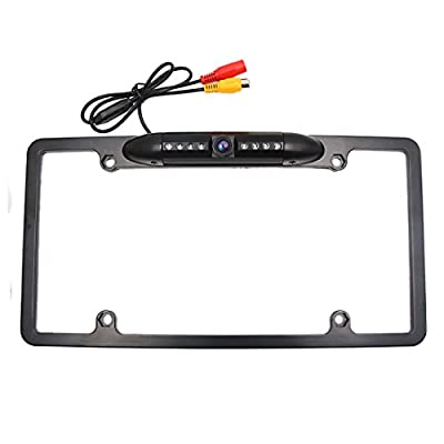 A ABSOPRO License Plate Frame Backup Camera CMOS American Car Rear View Reversing Reverse Parking Cam 8 IR LED Light Night Vision Distance Scale Line Waterproof Universal Fit Truck Pickup