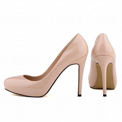 HooH Damen Pumps Plattform High Heel Kleid Pumps Hochzeit Schuhe Slip On Beige-1