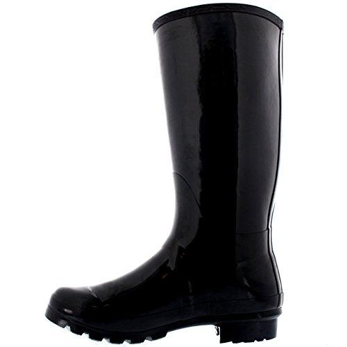 Polar Mujer Estiércol Impermeable Extra Ancho Ecuestre Tall Lluvia Botas De Goma Perro Caminando Botas Negro Brillo