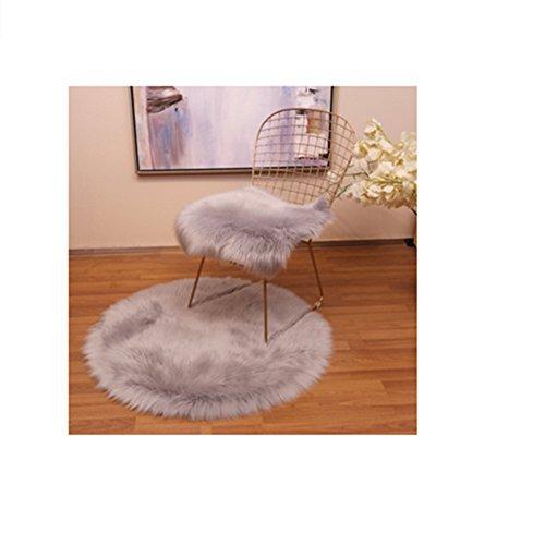 (Imitation Wool Plush Hollow Iron Dining Chair Computer Leisure Chair Stool Cushion Square pad Blanket,Gray )