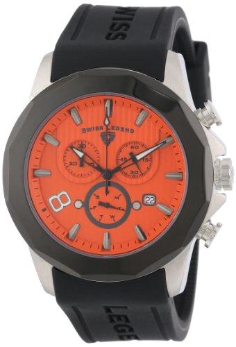 Swiss Legend Men's 10042-06-BB Monte Carlo Chronograph Orange Textured Dial Black Silicone Watch