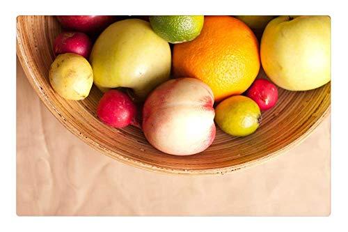Indoor Floor Rug/Mat (23.6 x 15.7 Inch) - Fruits Basket Pear Lemon Apple Radish Green Red 1