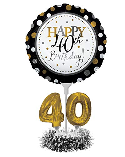 Creative Converting Happy 40th Birthday Balloon Centerpiece Black and Gold for Milestone Birthday - 317306