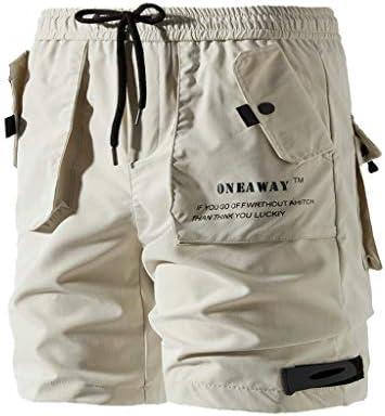 Men Solid Sports Short Pants, Male Button-Pocket Overalls