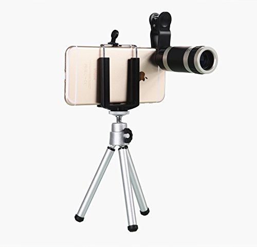WONBSDOM Universal 8X Zoom Clip-On Aluminum Telephoto Manual Focus Telescope Camera Lens Phone Lens(Silver) With Tripod + Retractable Phone Holder + Microfiber Cleaning Cloth for iPhone 4S 5 5S 5C 6 iTouch iPad Samsung Galaxy S3 S4 S5 S6 Note 2/3/4 HTC Nokia Sony,etc.