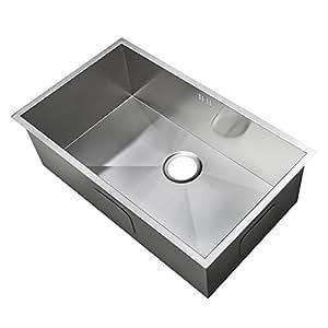 hecho a mano fregadero de la cocina acero inoxidable cepillado montaje bajo encimera. Black Bedroom Furniture Sets. Home Design Ideas