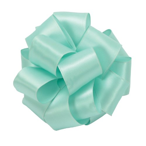 Offray Wired Edge Single Face Satin Contessa Craft Ribbon, 1-1/2-Inch by 25-Yard Spool, Aqua