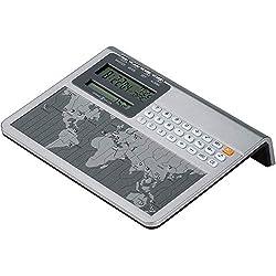 Howard Miller Atlas World Clock and Calculator 645-358 - Digital Travel Alarm for Desk