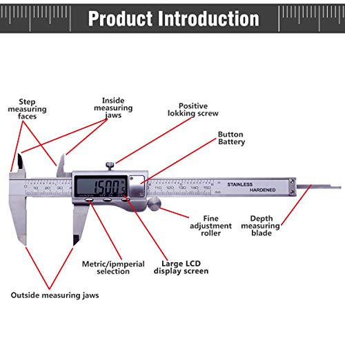 electronic digital caliper measuring tool, sibaok hardened stainless steel  with auto-off lcd display