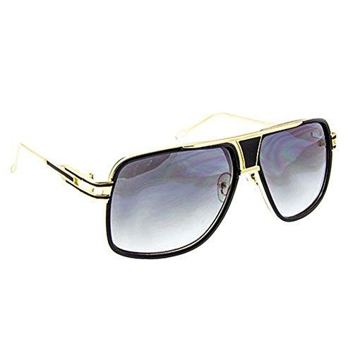 Gazelle Tycoon Aviator Sunglasses w/ Multicolor Lenses (Black & Gold, - Sunglasses Gazelle Men For