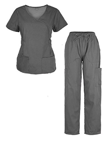 G Med Women's Ultra Soft Missy 2 Pockets Top & Pants Fashion Scrub Set