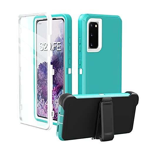 Galaxy s20 fe case, Heavy Duty Case for S20 FE,Tough,4 in1 Rugged Shorkproof Cover for GalaxyS20 FE (Pink+White, 6.5)