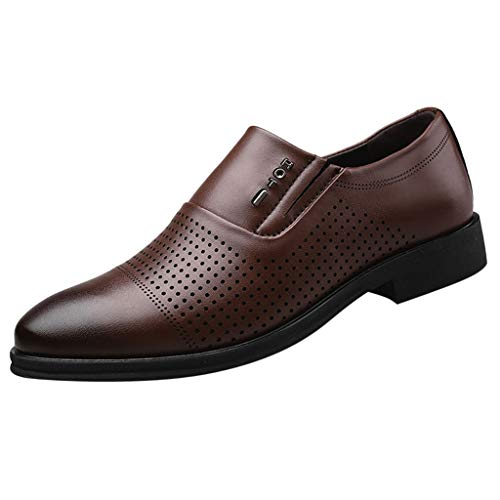 VIASA_ Men's Business Dress Shoes Punching Breathable Shoes Hollow Imitation Leather Wedding Shoes Brown]()