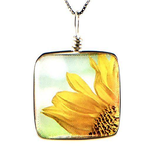 Handmade Glass Sunflower Necklace: Original Flower Image Fused to Artisan Made Pendant on Beautiful Silver Plated Snake Chain