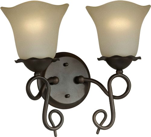 Forte Lighting 5363-02-32 Bath Vanity with Shaded Umber Glass Shades, Antique Bronze
