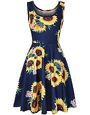 Yoonsoe Women's Summer Sleeveless Slim Flared Dress Casual Floral Knee Length Sundress