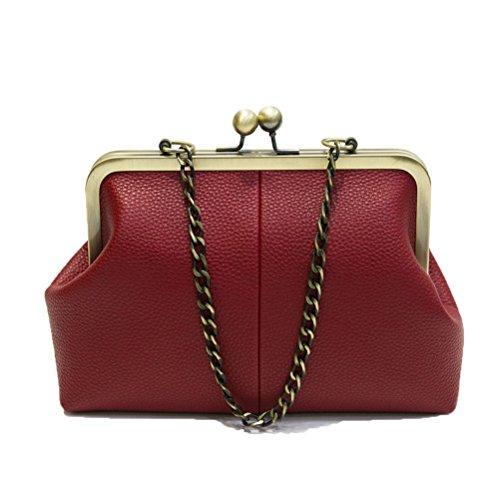 Abuyall Retro Kiss Lock Pu Leather Chains Minimalist Crossbag Bag Diamonds Appliques Shoulder Purse Handbag Totes Bag Satchel Ladies Pt14