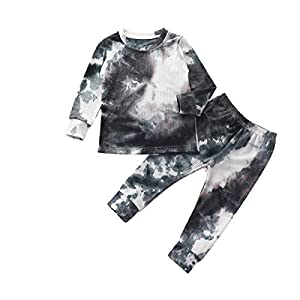bilison Toddler Baby Girl Boy Outfits Tie Dye Sweatshirt Hoodie Tops Pants 2PCS Fall Winter Clothes Set – – 3-4 Years