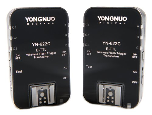 Yongnuo YN-622C-USA E-TTL 2.4-GHz Wireless Flash Trigger Transceiver Pair for Canon DSLRs, US Warranty (Black) ()