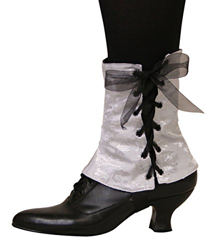 Historical Emporium Women's Steampunk Reversible Satin Brocade Spats S/M Silver/Black]()