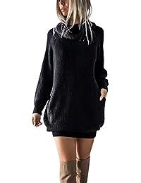 Simplee Women's Winter Warm Loose Turtleneck Oversized Pullover Sweater Dress