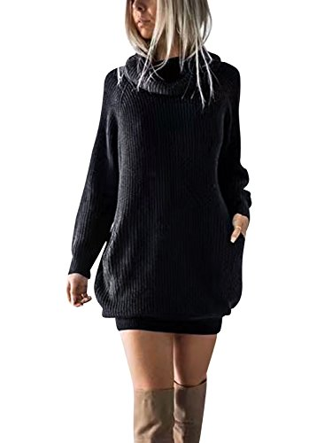 Simplee Women's Winter Warm Loose Turtleneck Oversized Pullover Sweater Dress,Black,One Size