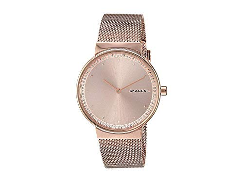 Skagen Women's Annelie Quartz Stainless Steel and Mesh Watch Color: Rose Gold, (Model: SKW2751) (Watch Date Womens Skagen)