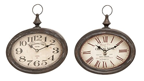 Deco 79 Stylish and Durable Assorted Chinese Metal Wall Clock, Set of 2 For Sale