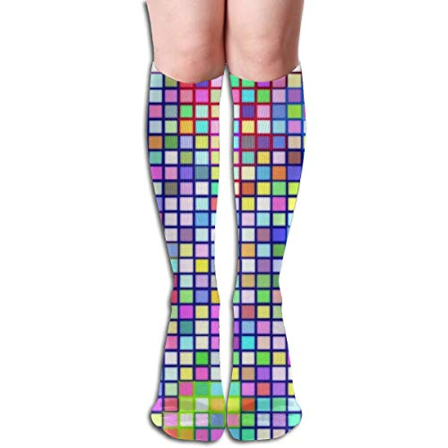 Gkf Compression Sock Women, Athletic Sports, Running, Edema, Diabetic, Varicose Veins, Flight Travel Patchwork Squares Tube - Patchwork Tube