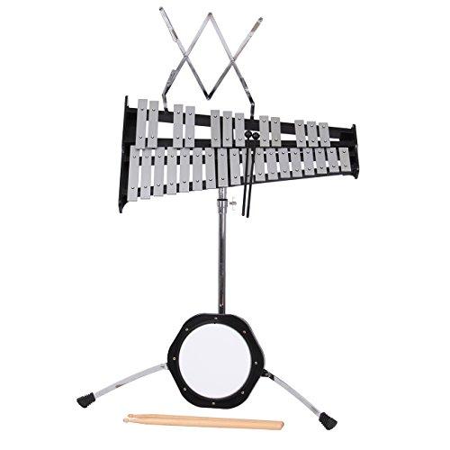 Percussion Glockenspiel Bell Kit 30 Notes w/Practice Pad, Mallets,Sticks and Stand - Ridgeyard by Ridgeyard