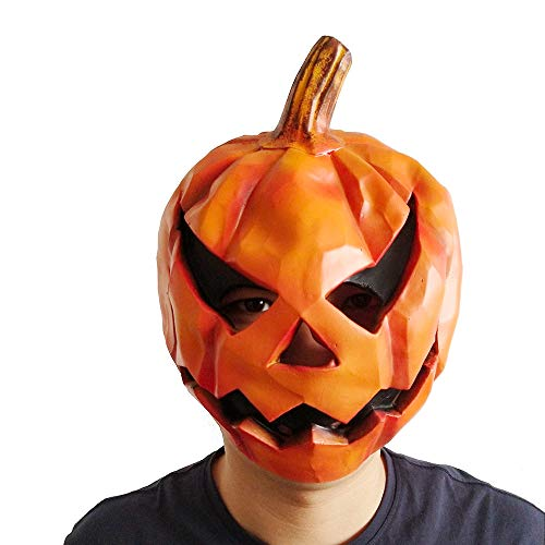 Pumpkin Head Mask,Novelty Halloween Mask Scary Latex Rubber Party Costume Mask for Adults Cosplay Party Festivals Decoration Orange -