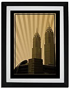 Al Kazim Towers Metro - Sepia No Text F06-nm (a3) - Framed