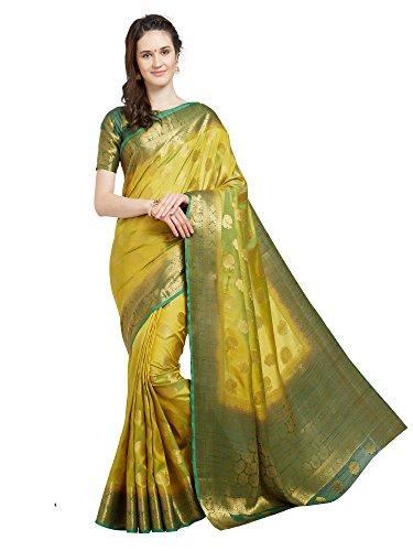 r Women's Lemon Yellow Banarasi Art Silk Saree with Un-Stiched Blouse Piece,Free Size ()