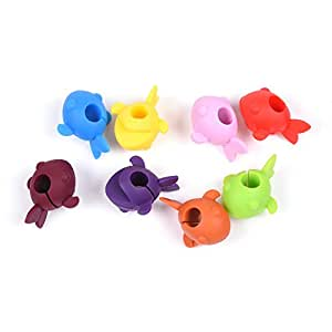 COSMOS Pack of 8 Assorted Colors Fish Shape Drink Markers & Wine Charm Tags for Stemless Glasses, Beer Mugs & More (Fish)